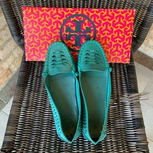 Tory Burch leather woven driving moccasin flats